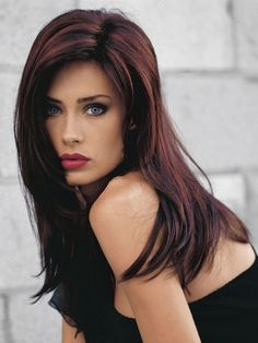 DARK brown with copper highlights | love the dark hair with red highlights - The Beauty Thesis Dark Red Hair Burgundy, Dark Auburn Hair Color, Red Highlights In Brown Hair, Brown Hair Red Tips, Dark Hair With Red, Dark Brown, Highlights 2017, Auburn Red, Hair Color For Women