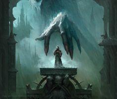 The Watcher in the Rain, Max Kostin - concept art / illustration /environments - Fantasy Kunst, Dark Fantasy Art, Fantasy Artwork, Fantasy Places, Fantasy World, Dcc Rpg, Arte Obscura, Fantasy Landscape, Fantasy Inspiration