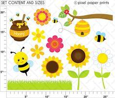 Niña abeja  Set de Clip Art y Papeles Digitales