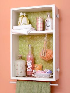 bathroom shelving out of an old dresser drawer