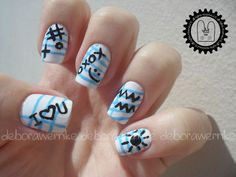 Nail Art - Teen Notes + Tutorial by DéboraWernke, via Flickr