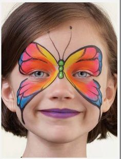 Simple face painting designs are not hard. Many people think that in order to have a great face painting creation, they have to use complex designs, rather then simple face painting designs. Butterfly Face Paint, Butterfly Makeup, Butterfly Design, Butterfly Mask, Rainbow Butterfly, Butterfly Party, Butterfly Painting, Butterfly Kisses, Girl Face Painting