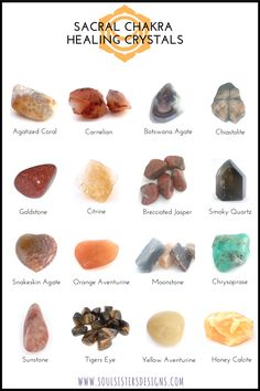 Sacral Chakra Healing Crystals by Soul Sisters Designs Crystals Minerals, Rocks And Minerals, Crystals And Gemstones, Stones And Crystals, Orange Crystals, Sacral Chakra Healing, Healing Meditation, Sacral Chakra Stones, Throat Chakra Crystals