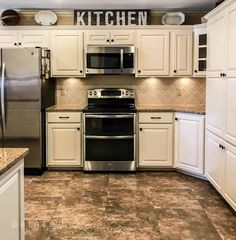Tired of that dated honey Oak cabinetry? Check out this kitchen's transformation from bland to beautiful! Ever wondered what Oak grain looks like after. Prefab Kitchen Cabinets, Ivory Kitchen Cabinets, Honey Oak Cabinets, Kitchen Renovations, Cream Cupboards, Cream Colored Kitchen Cabinets, Farmhouse Cabinets, Grey Cabinets, Farmhouse Decor
