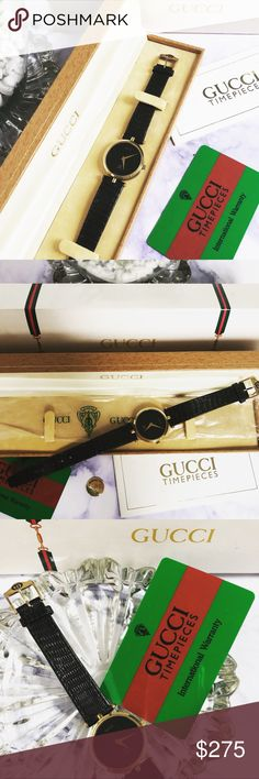 $850 AUTHENTIC GUCCI WATCH Beautiful authentic vintage Gucci watch! Real 18k gold. New battery ✨ comes with boxes and original paper work and card! In wonderful condition, no damage. Only a couple small barely noticeable scratches on crystal. Accepting offers! Gucci Accessories Watches