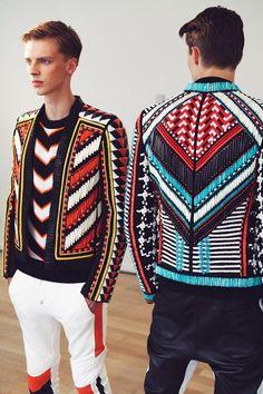 Beaded jackets in geometric graphic pattern. Backstage at Balmain Spring 2015 Menswear. Photo: Marie-Amélie Tondu http://www.dazeddigital.com/fashion/gallery/18084/0/balmain-ss15