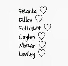 Connor, Ricky, Sam, JC, Trevor, Kian thank you so much for everything youve done for me i hope i can meet you guys some day thank you and i love you