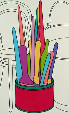 Michael Craig-Martin - 3 May - 3 June 2000 Pop Art Drawing, Art Drawings, Michael Craig, Jim Dine, Art Quotes Funny, Still Life Artists, Observational Drawing, Robot Concept Art, Everyday Objects