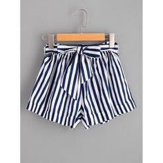 Striped Self Tie Waist Shorts #fashion #women #spring #spring #shorts #summerstyle #womenfashion #womenwear #summer2018