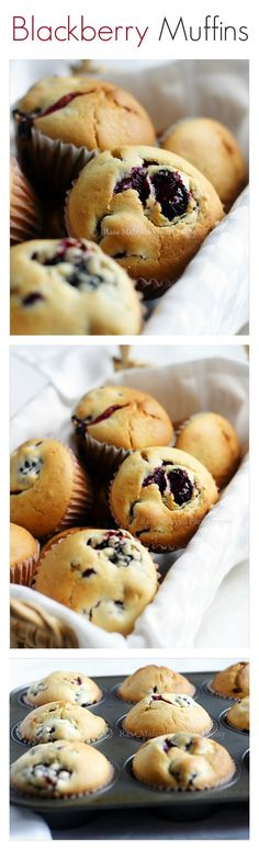Mother's Day breakfast idea - Blackberry Muffins - moist and delicious muffins with loads of fresh blackberries | rasamalaysia.com