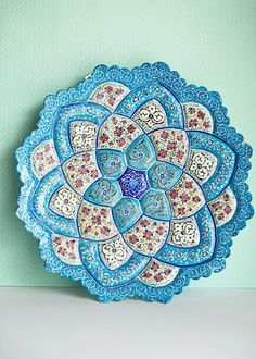 Moroccan Blue Plate Hand Painted Middle Eastern von ForestDaydream