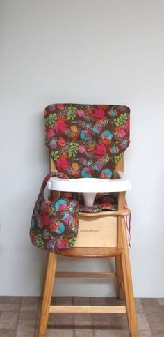 custom eddie bauer wooden high chair pad, fantasy floral with matching bib, replacement cover, kids feeding chair pad, baby furniture, decor by SewingsillySister on Etsy