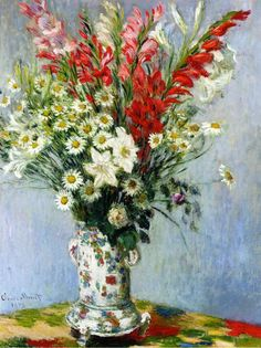 ღღ Claude Monet, Bouquet of Gladiolas, Lilies and Daisies - 1878