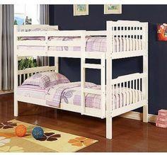Double Loft Bunk Bed Kidsroom Furniture Bedroom Twin Ladder Wooden Soft White #Elise