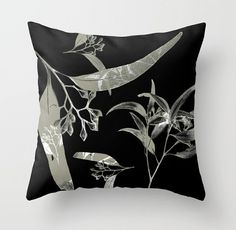 Eucalyptus leaf nature abstract throw pillow, decorative cushion