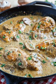 "**Chicken and Mushroom Skillet in a Creamy Asiago and Mustard Sauce. If you can accept the ""unhealthy"", this is absolutely delicious and pretty easy as main meals go. Turkey Recipes, Dinner Recipes, Food Dishes, Main Dishes, Low Carb Recipes, Cooking Recipes, Top Recipes, Skillet Recipes, Recipies"