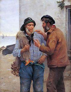 """""""A L'ABRI DE LA TEMPETE OU ENTRE MARINS"""",  OIL ON CANVAS 94 X 75.5 CM, BY ALFRED GUILLOU 1890. MUSEE DES BEAUX ARTS DE QUIMPER. FROM WIKIMEDIA.ORG"""