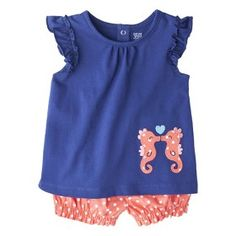 Sea horse shorts and tank outfit