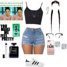 Summer coming by curlss-wavyy-sexy on Polyvore featuring polyvore, fashion, style, Topshop, adidas, Chanel, Tiffany