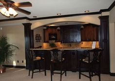 Classic Smith Construction knows how to Design and Build a Wow Recreation Room! How May We Help You Remodel your Basement! Basement Home Office, Wet Bar Basement, Basement Bar Plans, Basement Bar Designs, Rustic Basement, Modern Basement, Basement Remodeling, Basement Ideas, Basement Bathroom