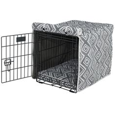 Hide the boring metal crate with a great graphic dog crate cover!