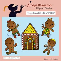 The gingerbread cookies are hot out of the oven and ready to be used in your classroom worksheets and decorations!  Images included in this set:  Gingerbread Girl Running Gingerbread Boy Gingerbread Gril with a Candy Cane Gingerbread Boy in a Striped Shirt and Gingerbread House  All of my clip art is original art, hand drawn, by me.