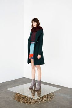 Cacharel   Fall 2014 Ready-to-Wear Collection   Style.com   light blue + orange + emerald = perfection