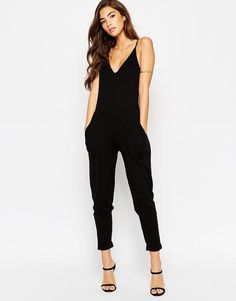 ASOS PETITE Plunge Jumpsuit with Strappy Back