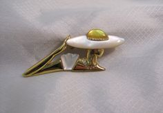 1980's Fashion Brooch, Woman and Mother of Pearl Brim Hat by newoldjewels on Etsy