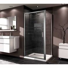 Huppe X1 Swing Door Shower Enclosure. 6mm glass 50mm adjustment 800, 900 and 1000mm sizes. #ContemporaryBathroom #Bathroom #ShowerEnclosures   www.ukbathrooms.com