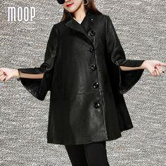 Black genuine leather sheepskin lamb windbreaker Long trench coat split flare sleeve casaco feminino <font><b>ropa</b></font> mujer abrigos LT1559