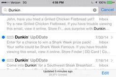 MOBILE TOUCHPOINTS: ON EMAIL: - I am on Dunkin's email list. I got one Shark Week announcement on July 30. Included a graphic, that was basically the same as the dry web site invitation. - Next emails sent me DURING Shark Week were NOT about Shark Week. (Aug 5: Grilled Chicken, Aug 7: K Cups, Aug 12: Rockin Prizes - not related to Shark Week) - Could it be one week is too short a time to really capitalize and get a sustained buzz?