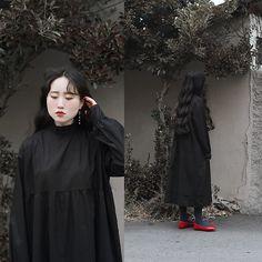 Autumn Kim - Phila Petra Lace High Neck Dress, Phila Petra Moss Pearl Earrings, Red Ribbon Flat Shoes - Crow