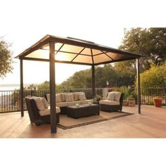 STC GZ620H 10' x 13' Madrid Square Gazebo GZ620H by STC. $1999.99. Comfortable patio area in Summer, luxurious spa protection in Winter the Madrid Gazebo is your ultimate pergola-style 4-post gazebo for year-round use Featuring a heavy gauge extruded aluminum frame in a mocha brown color, the Madrid is strong and durable. The darkly tinted 4 mil twin-wall opaque polycarbonate roof offers sun filtration with the same materials used in quality greenhouses. Complete with corros...