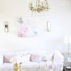 """One of my favorite things to do when Josh is having a serious convo with me and I can't sit still, is to start taking down wall art and pillows and totally changing up a room.😂 He loves it!😉 This wall art isn't staying here but I took my leopard pillows upstairs and wanted to lighten this room up and just do blush here during Valentine's. 💕 Tomorrow morning make sure to come here and see a sneak peek of what'll be on the blog.  I'm sharing """"5 Ways To Wine & Dine Your Valentine"""" with my…"""
