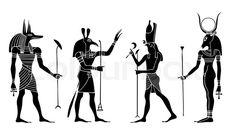 Stock vector of 'Egyptian gods and goddess - Anubis, Seth,Hathor, Horus - vector'