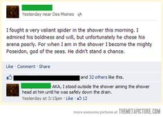Spider in the shower...