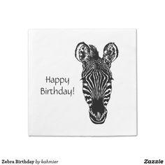 Zebra Birthday Paper Napkins - say happy birthday at 15% off