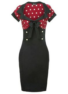 "Stunning ""Lady Vintage"" Red Wine & White Polka Dot 50s Style Wiggle Dress. Sizes 8-22. £30.00"