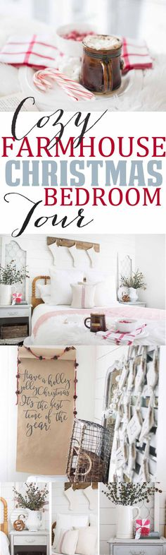 Step inside my cozy farmhouse bedroom all dressed up for the Christmas Holiday Season! I hope you'll find this space warm, inviting and also inspires your farmhouse decor ideas as you dress your own home up for the season!