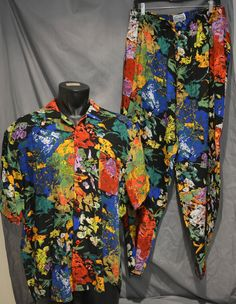 RARE 80's Jams World Hawaiian Aloha Shirt and Pants Sz XL Surf Line Matching Set #JamsWorld #Hawaiian