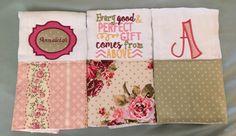 A personal favorite from my Etsy shop https://www.etsy.com/listing/472700847/burp-cloth-set-girls-burp-cloth-set