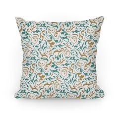Show off your super cute and spooky style with this gold and pastel blue green filigree floral skull pattern. Pair this pattern with the 'To Quote Hamlet Act III, Scene iii Line 92, No' pillow design to create a hilarious, cute, sassy, literary pillow set. Perfect for literary enthusiast, theater enthusiast, pastel goths, witty people, and anyone who enjoys a little twist in their style.