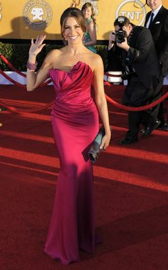 Sofia Vergara at SAG Awards 2012 - This style of dress, worn short or long will look good on bridesmaids of all sizes with the fabric gathering in the center.