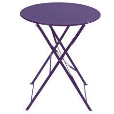 Table pliante de jardin en métal violette D 58 cm