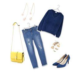 navy×yellowコーデ stylist:mayu denim knit yellow navy ponte fashion outfits coordinate
