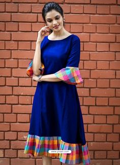 Fabric: Khadi Cotton Sleeves: Sleeves Are Included Size: (Bust) Up To 42 in (Free Size) Length: Up To 46 in Type: Semi-Stitched Fabric: Khadi Cotton Salwar Designs, Kurta Designs Women, Kurti Neck Designs, Kurti Designs Party Wear, Dress Neck Designs, Blouse Designs, Cotton Kurtis Designs, Simple Kurti Designs, Frock Design