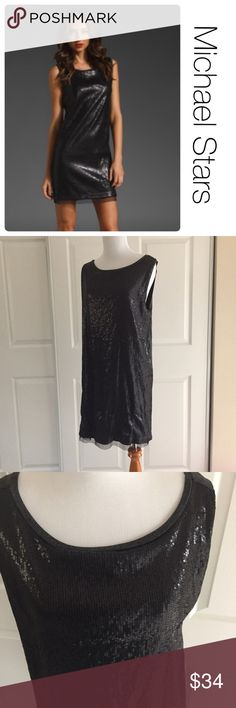 MIchael Stars sequined tank dress OS size: labeled as one size fits most but I would call this a medium. Excellent condition, no staining, tears or problems with sequins. Made of 100% polyester. Heathers gray back and the front has sequins. Michael Stars Dresses Midi