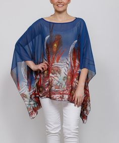 Blue Peacock Cape-Sleeve Top - Plus