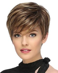 Buy Fashion Golden Short Straight Hair High Temperature Wig, sale ends soon. Be inspired: discover affordable quality shopping on Gearbest Mobile! Short Hairstyles For Thick Hair, Short Straight Hair, Short Hair With Bangs, Short Hair With Layers, Short Hair Cuts For Women, Wig Hairstyles, Curly Hair Styles, Short Pixie Wigs, Short Pixie Haircuts